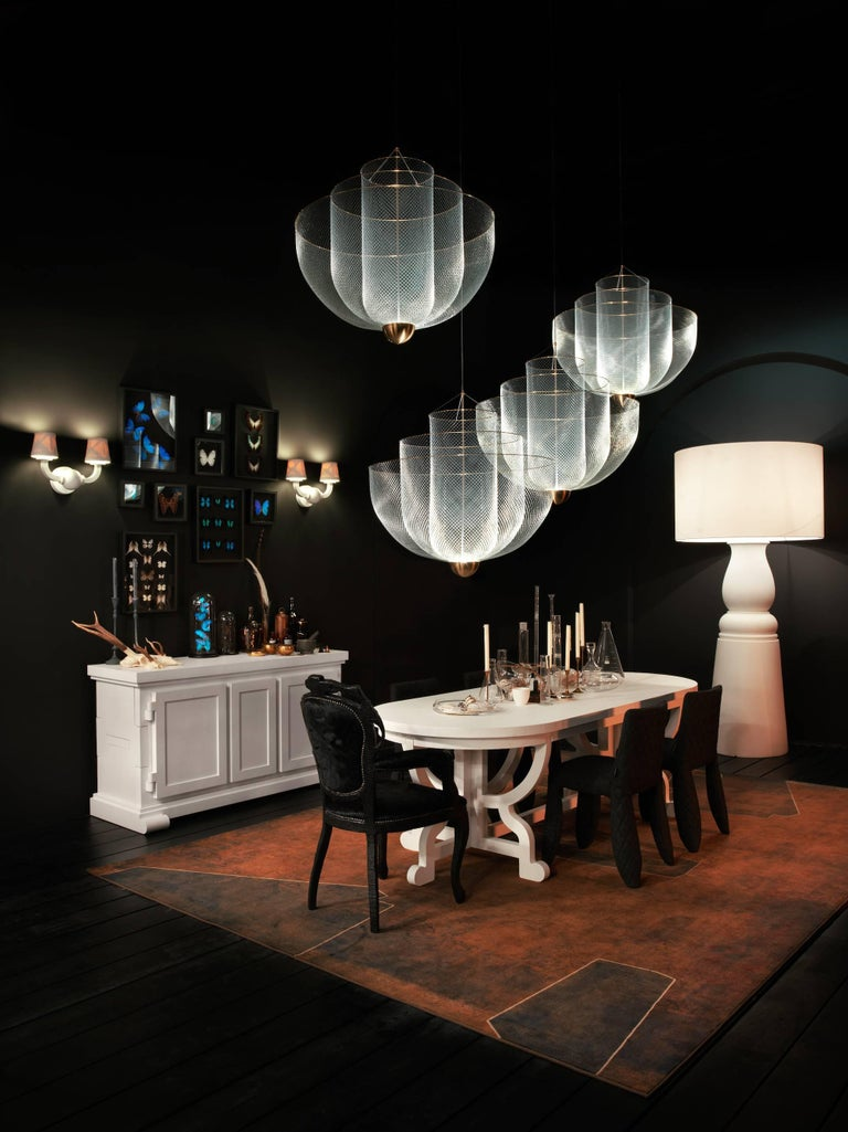 Meshmatics Dimmable LED Chandelier in Galvanized Steel and Brass for Moooi For Sale 4