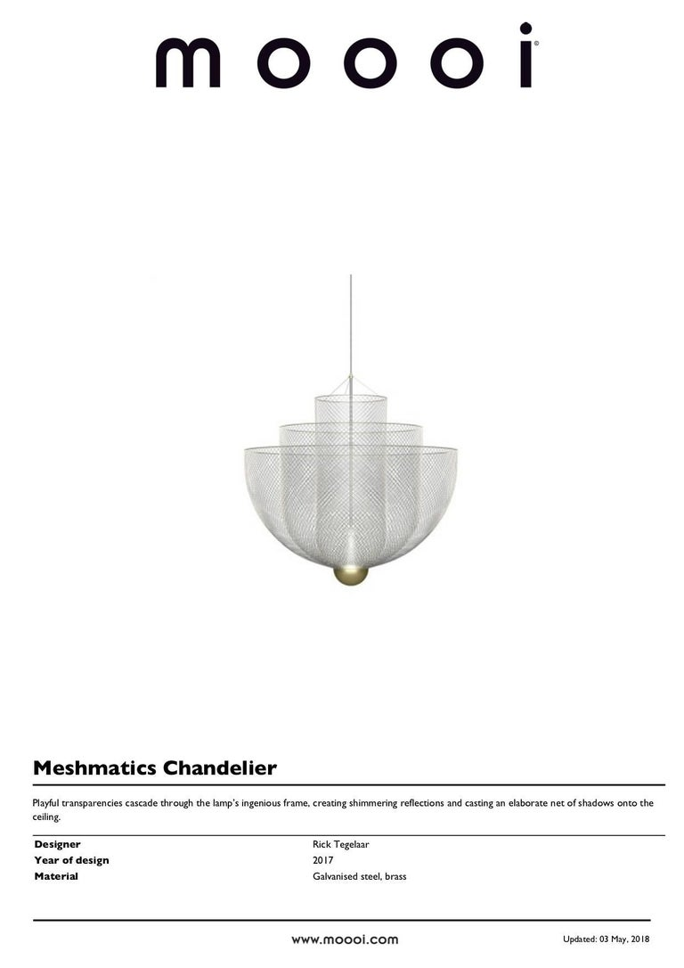 Meshmatics Dimmable LED Chandelier in Galvanized Steel and Brass for Moooi For Sale 6