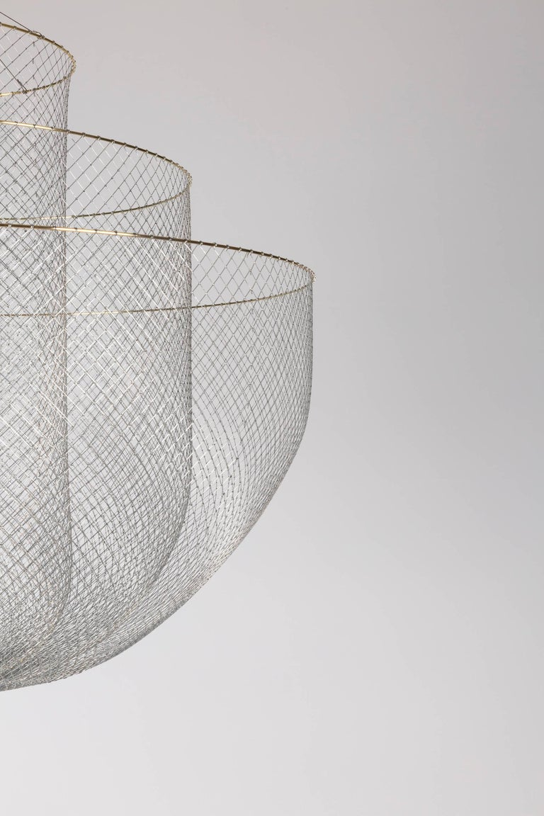 Dutch Meshmatics Dimmable LED Chandelier in Galvanized Steel and Brass for Moooi For Sale