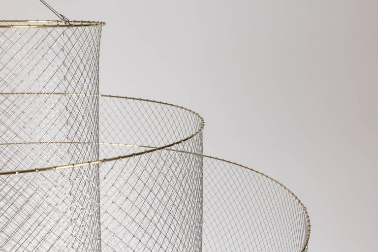 Meshmatics Dimmable LED Chandelier in Galvanized Steel and Brass for Moooi In New Condition For Sale In Rhinebeck, NY