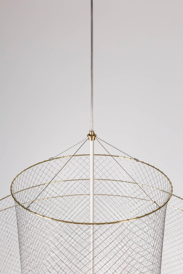 Meshmatics Dimmable LED Chandelier in Galvanized Steel and Brass for Moooi For Sale 1