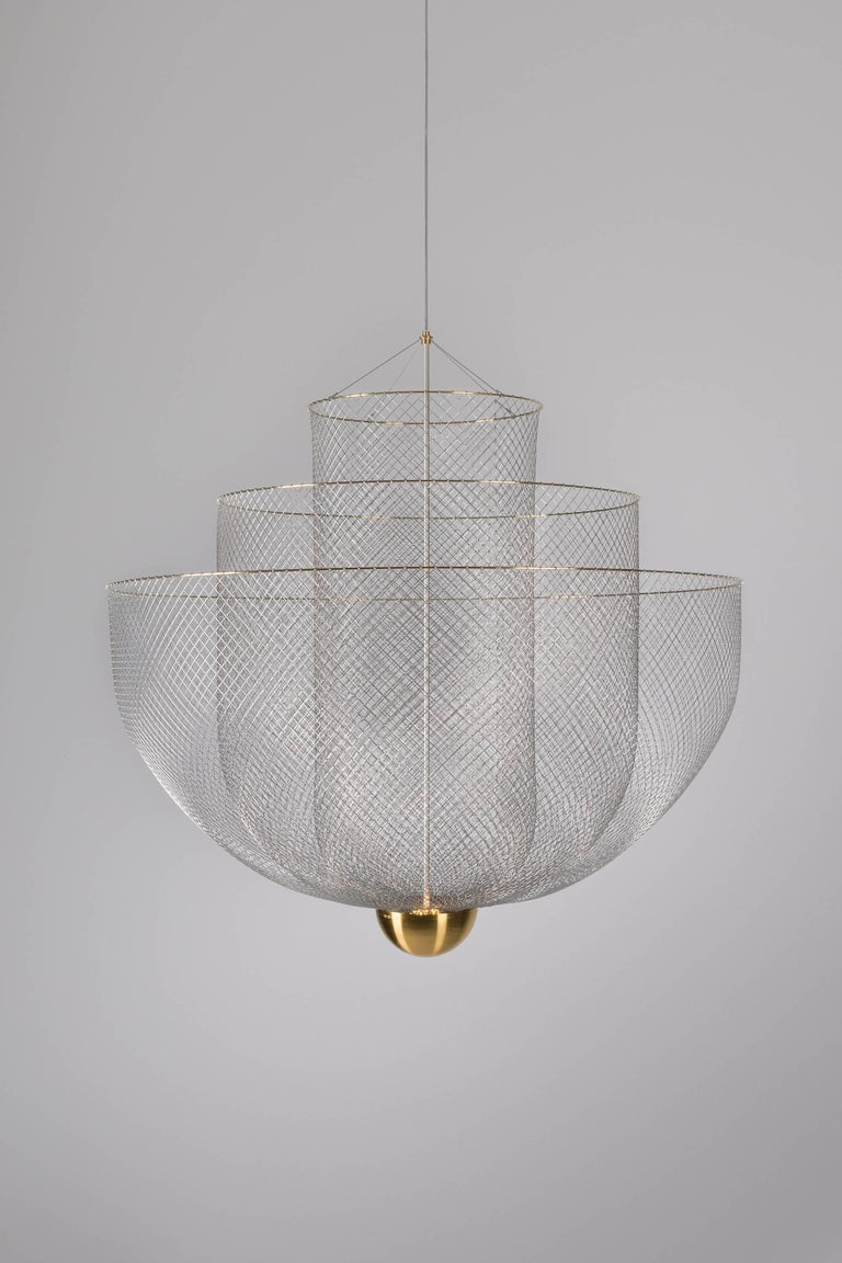 Meshmatics Dimmable LED Chandelier in Galvanized Steel and Brass for Moooi For Sale 2