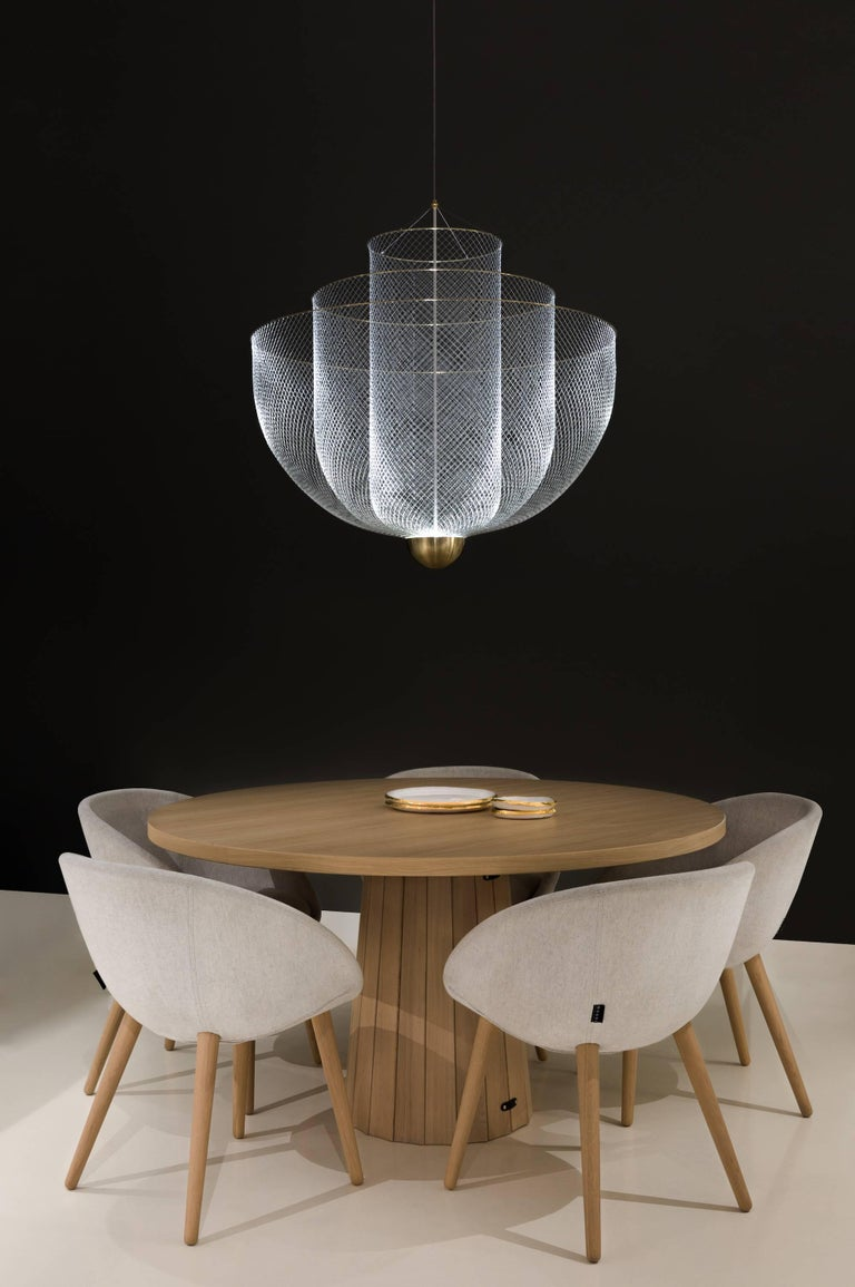 Meshmatics Dimmable LED Chandelier in Galvanized Steel and Brass for Moooi For Sale 3