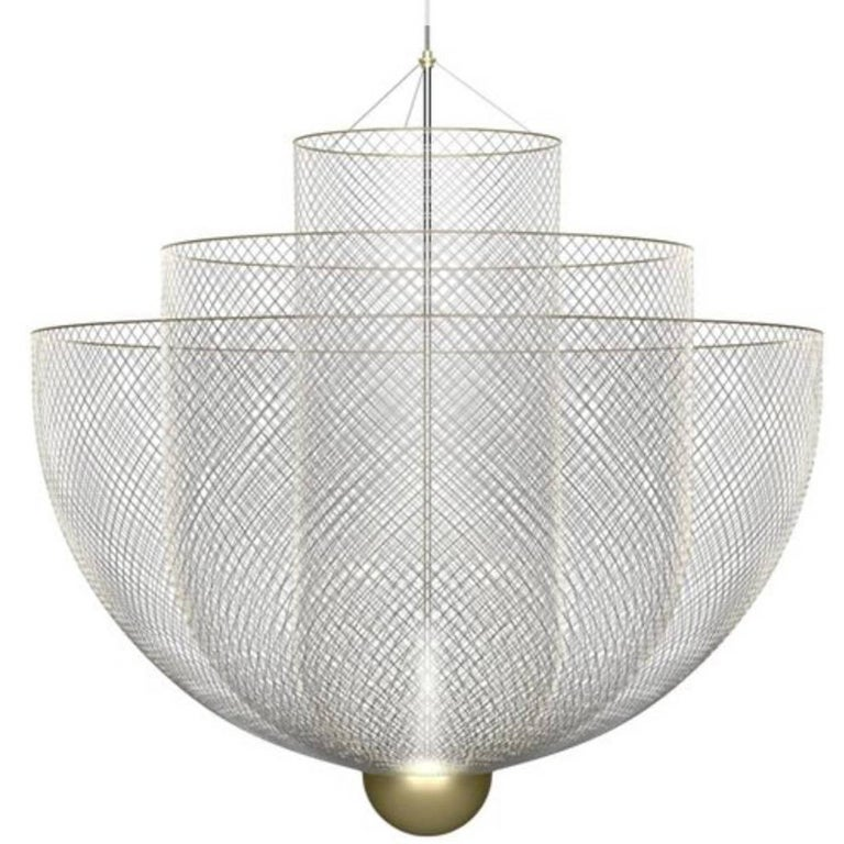 Meshmatics Dimmable LED Chandelier in Galvanized Steel and Brass for Moooi For Sale