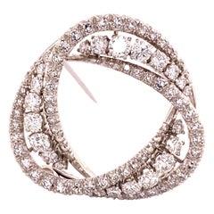 Mesmerising Moebius Strip Inspired Diamond Brooch in 18 Karat White Gold