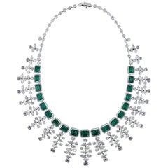 Mesmerizing 18 Karat White Gold, Diamond and Emerald Necklace