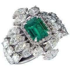 Mesmerizing 18 Karat White Gold, Diamond and Emerald Ring