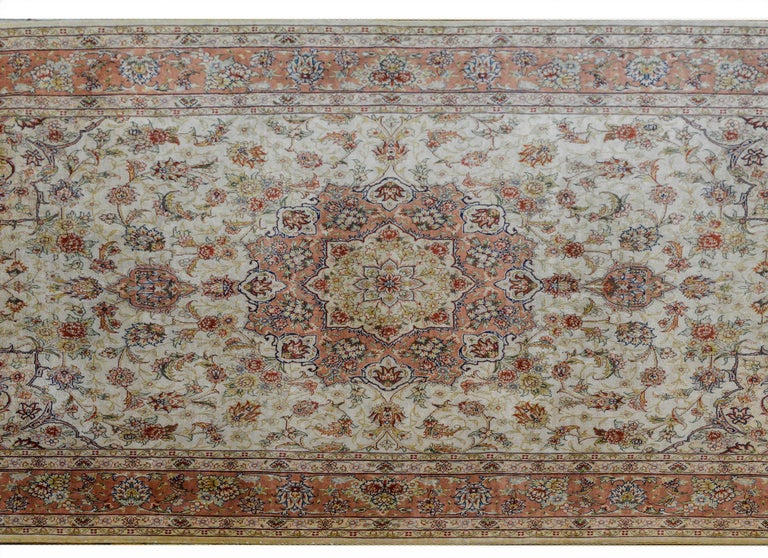 Hand-Knotted Mesmerizing Egyptian Silk Tabriz Rug For Sale