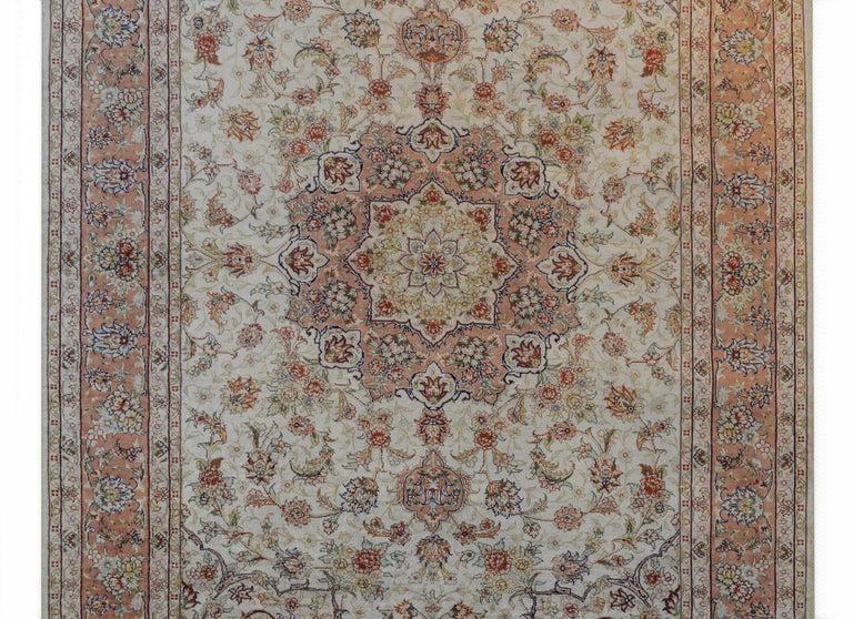 Late 20th Century Mesmerizing Egyptian Silk Tabriz Rug For Sale