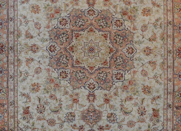 Mesmerizing Egyptian Silk Tabriz Rug For Sale 2