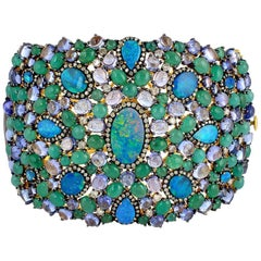 Mesmerizing Opal, Diamonds, Emerald and Tanzanite Cuff Bracelet