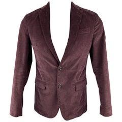 MESSAGERIE Burgundy Size 36 Cotton / Elastane Corduroy Notch Lapel Sport Coat