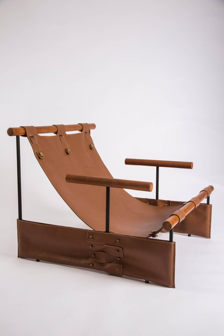 'Messenger' Minimalist Modern Armchair in Wood, Carbon Steel and Leather For Sale 1