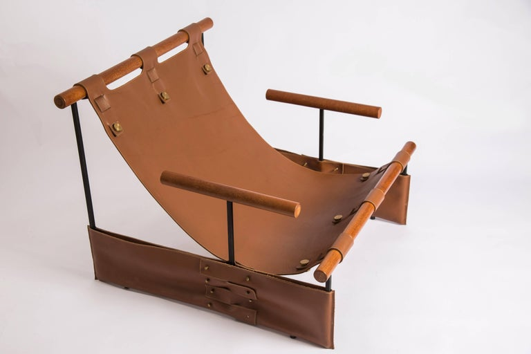 Other 'Messenger' Minimalist Modern Armchair in Wood, Carbon Steel and Leather For Sale