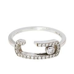 Messika Gigi Hadid Move Addiction Pave Diamond 18K White Gold Ring Size 52