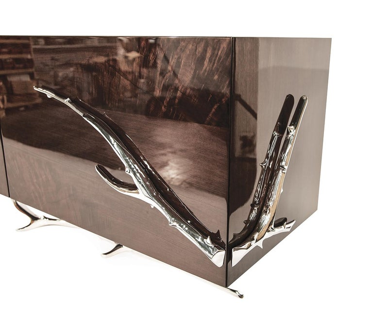 European Meta Credenza 'Bronze, Black Lacquer' by Hudson For Sale