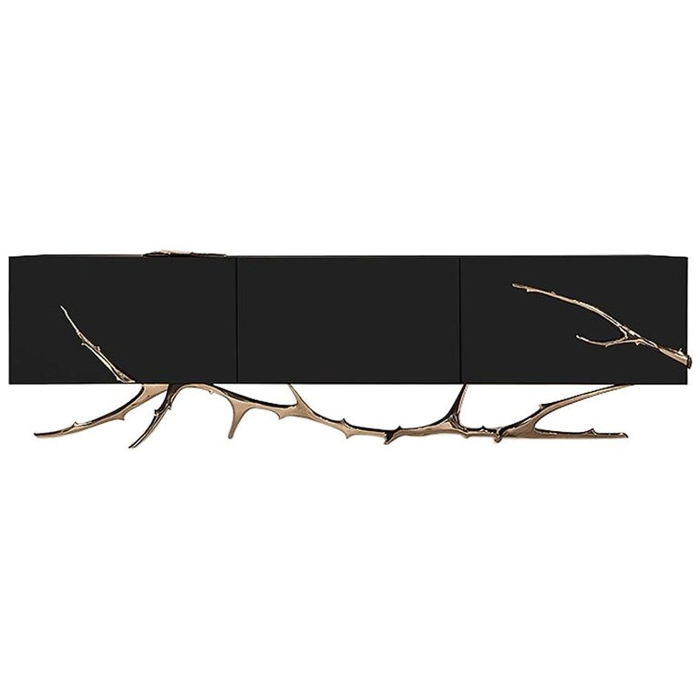 Meta Credenza 'Bronze, Black Lacquer' by Hudson For Sale