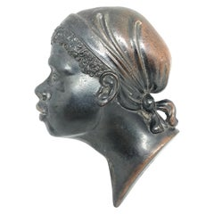 Metal African American Male Head Wall Decoration, Denmark, 1950s
