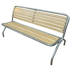 Metal and Beechwood Folding Bench, circa 1950