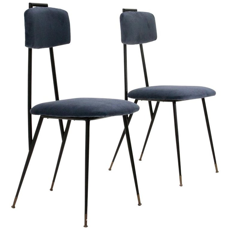 Metal And Blue Velvet Chair 1950s Set Of 2 For Sale At 1stdibs