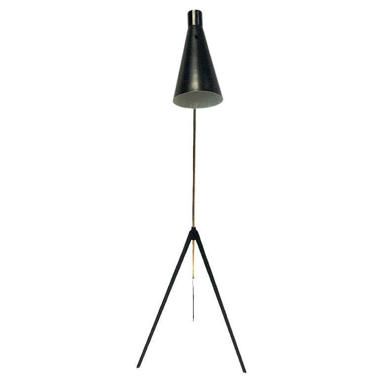 Metal and Brass Floorlamp by Alf Svensson, Bergboms Sweden, 1950s