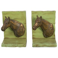 Metal and Brass Horse Bookends, circa 1940