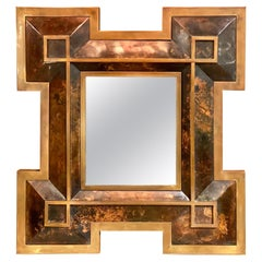 Metal and Brass Mirror by Maison Jansen, France, 1970's