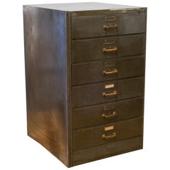 Metal and Brass Six Drawer File Cabinet, c.1940-1950