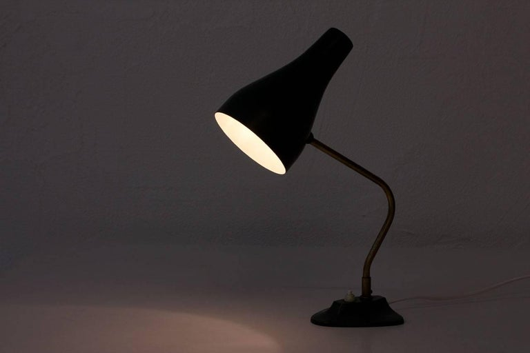 Metal and Brass Table Lamp by ASEA, Sweden, 1950s For Sale 4