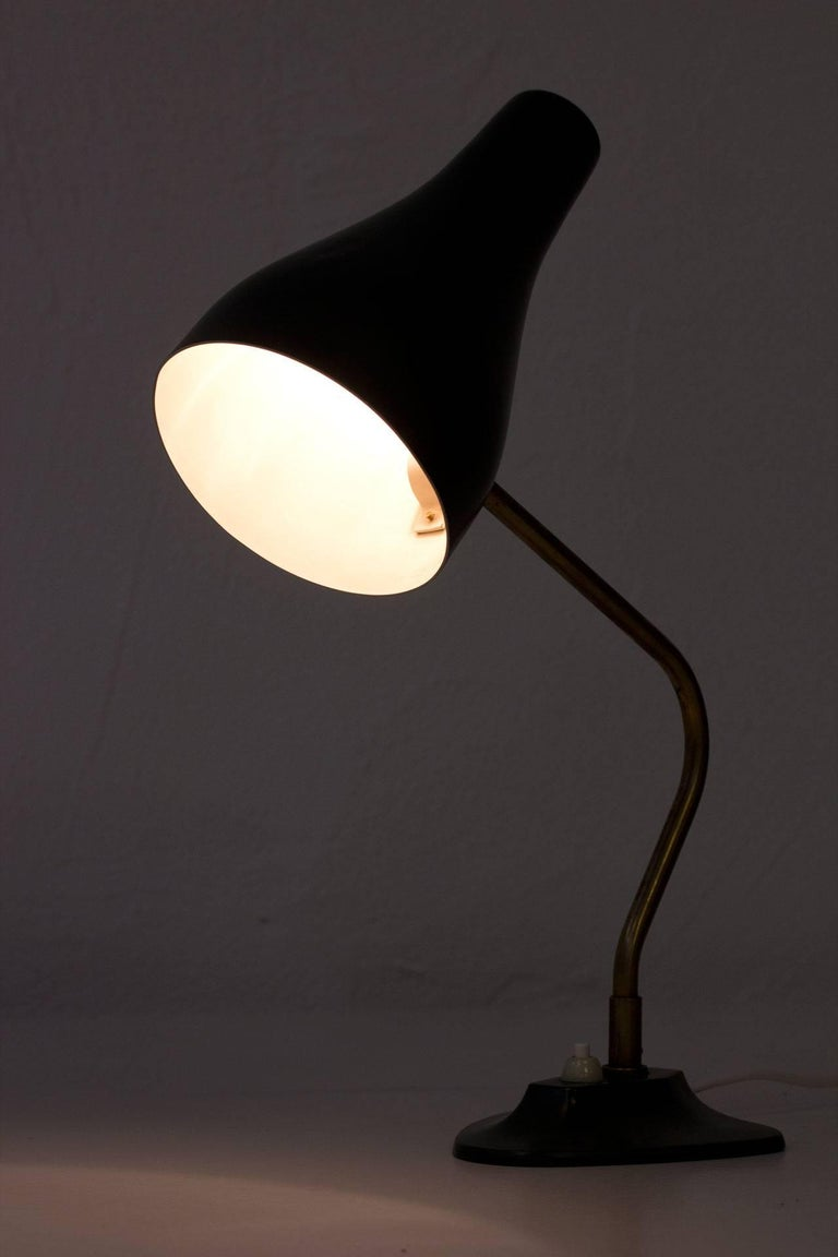 Metal and Brass Table Lamp by ASEA, Sweden, 1950s For Sale 5