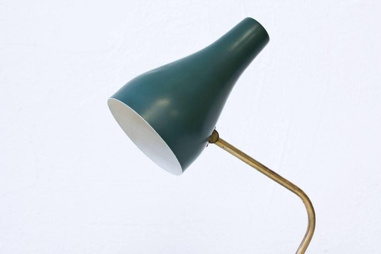 Scandinavian Modern Metal and Brass Table Lamp by ASEA, Sweden, 1950s For Sale