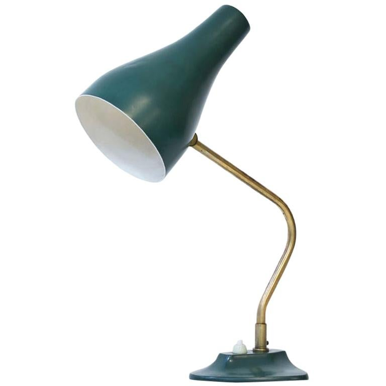 Metal and Brass Table Lamp by ASEA, Sweden, 1950s For Sale
