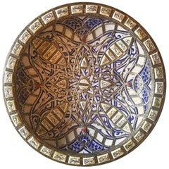 Metal and Camel Bone Inlaid Moroccan Hand-Painted Plate, Blue or White