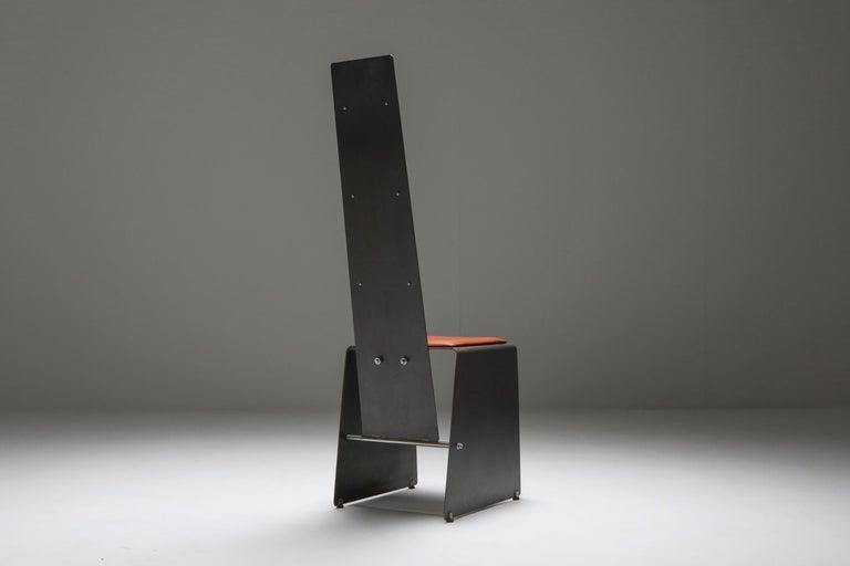 Postmodern piece in steel and cognac leather Collectible design piece Belgium, 1980s.