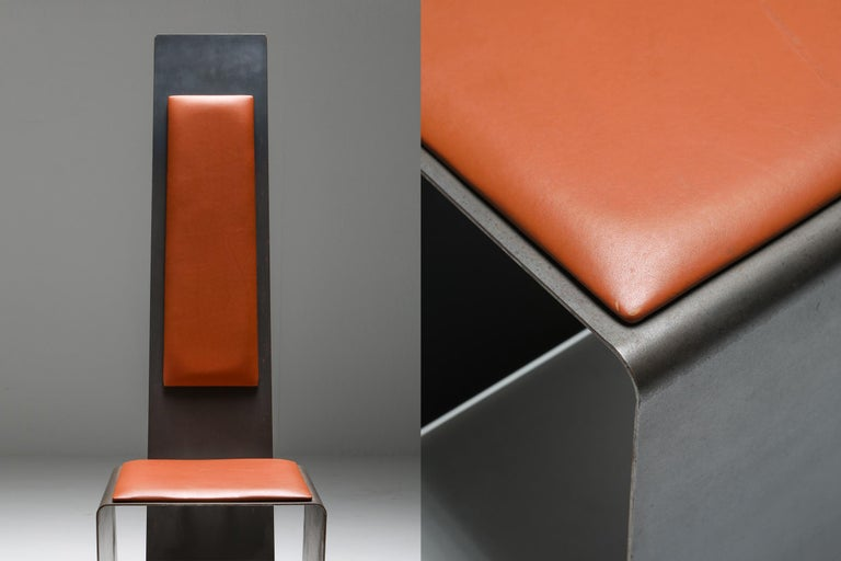 Steel Metal and Cognac Leather Chair For Sale