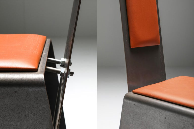 Metal and Cognac Leather Chair For Sale 1