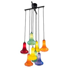Metal and Colored Glass Chandelier. Italian Design, circa 2000