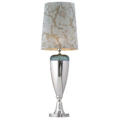 Metal and Crystal Green Table Lamp