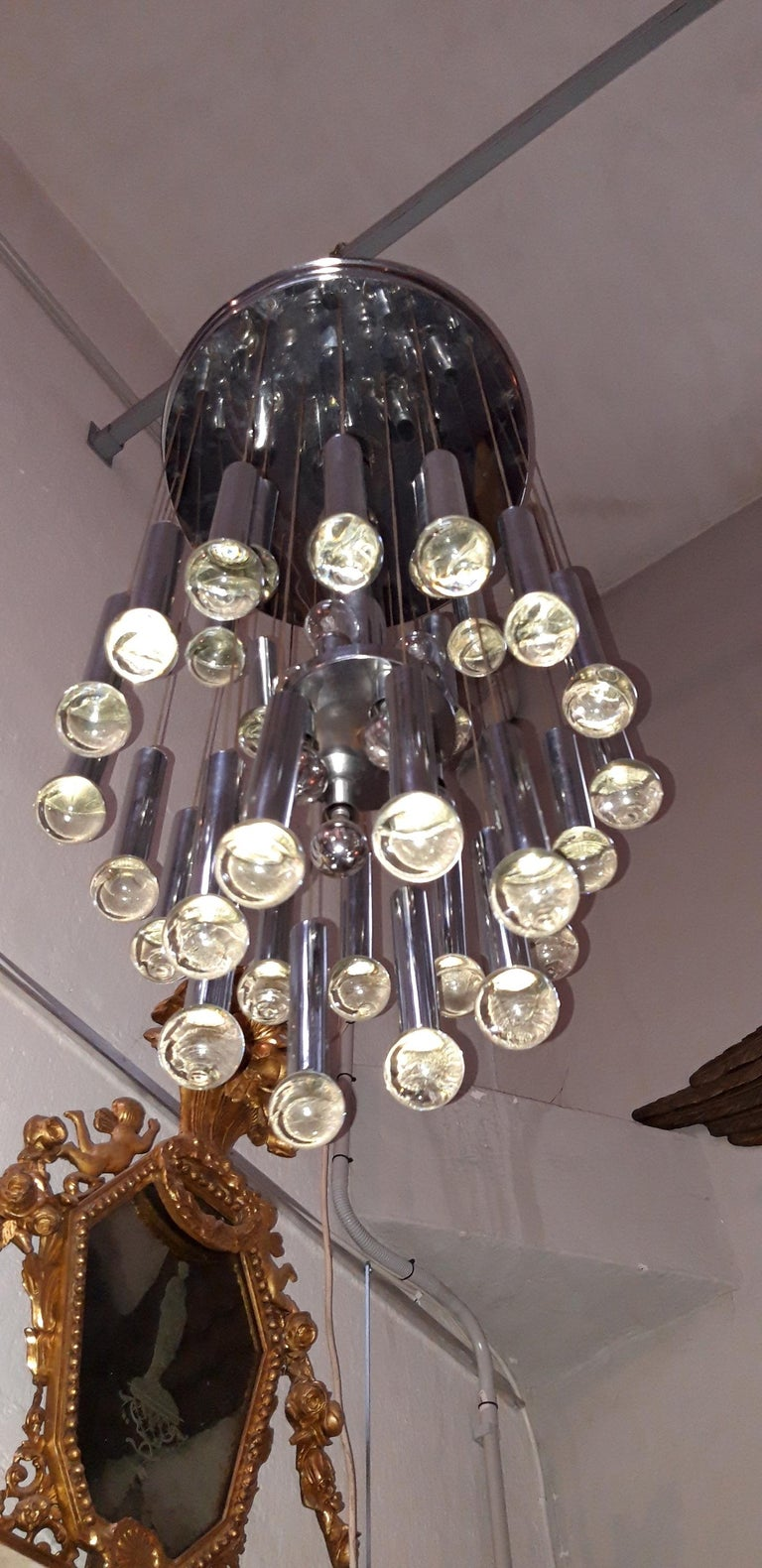 Metal and Glass Ceiling Lamp, circa 1960 For Sale 5