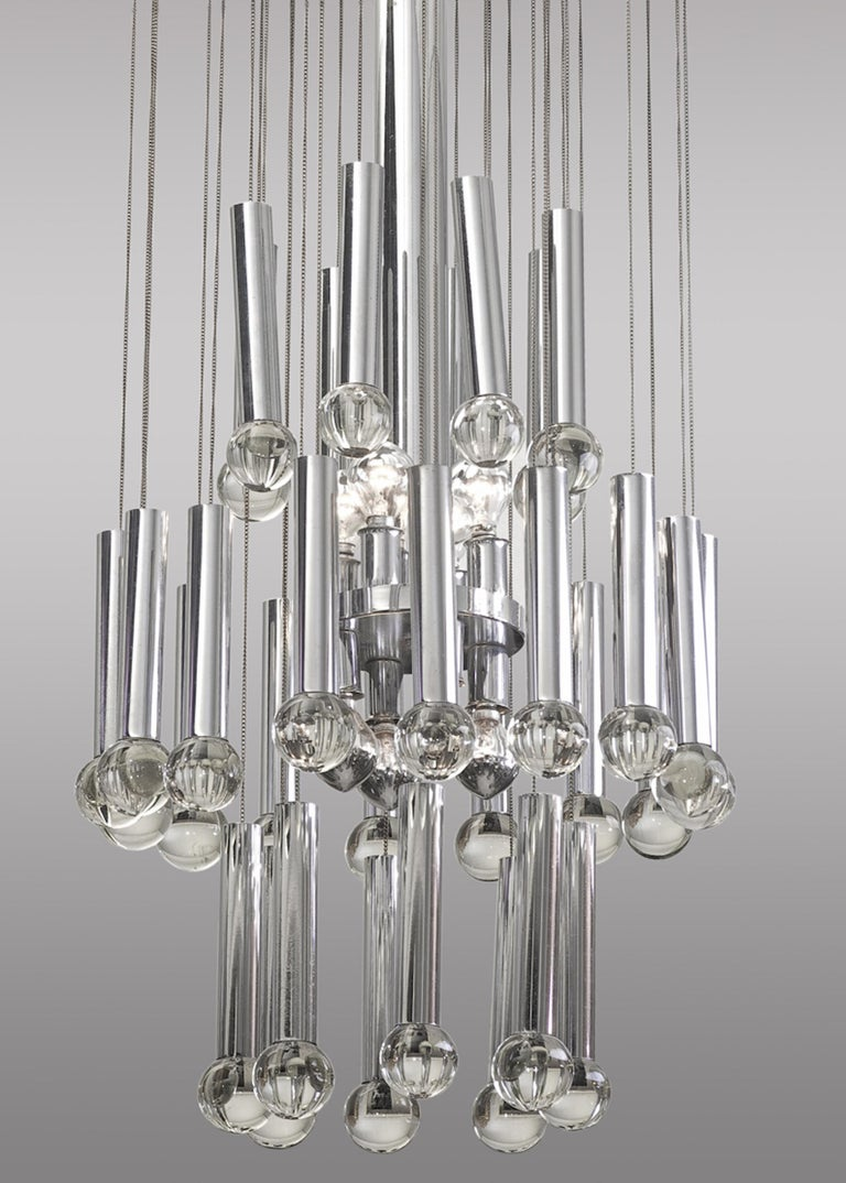 Metal and glass ceiling lamp, Circa 1960. 8 bulbs, 4 above and 4 below. Bulbs: E14 25w / 40w