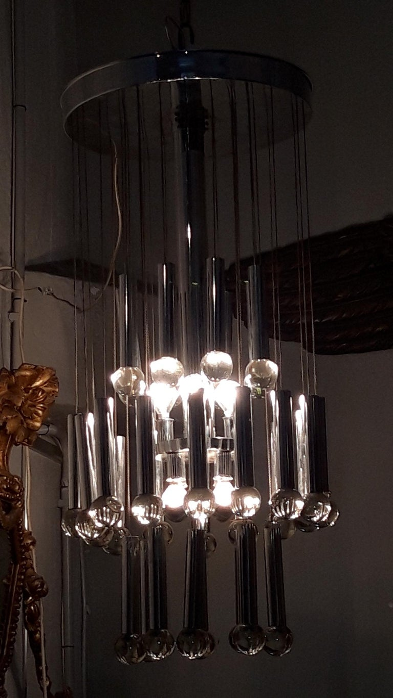Metal and Glass Ceiling Lamp, circa 1960 For Sale 3