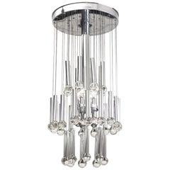 Metall und Glas Deckenlampe, circa 1960