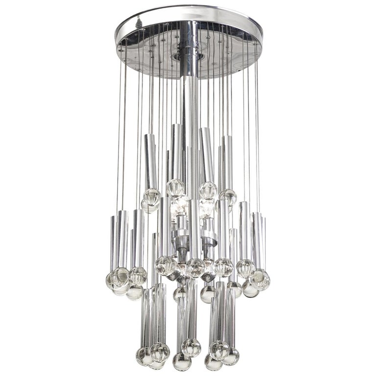 Metal and Glass Ceiling Lamp, circa 1960 For Sale