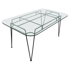 Metal and Glass Top Dining Table by Russell Woodward