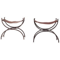Metal and Leather Pair of Stools