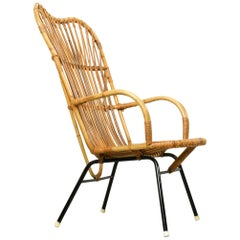 Metal and Rattan Terrace or Lounge Chair from Rohé Noordwolde, 1960s