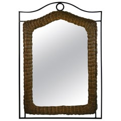 Metal and Wicker Mirror