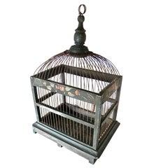 Metal and Wood American Bird Cage, Circa 1905
