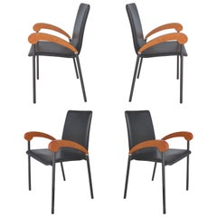 XO Design Metal and Wood Armchairs with Full Grain Leather Seats