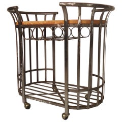 Metal and Wood Rolling Bar Cart
